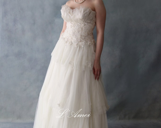 CLEARANCE - Sexy Bohemia Style Custom Made French Lace Wedding Dress with Bling and Small Flower Accents