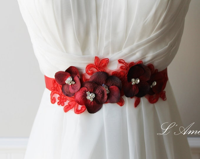 Dark Red Wedding Sash Bridal Belt with Glass Pearl Accents. Great for a Goth Wedding or Christmas wedding