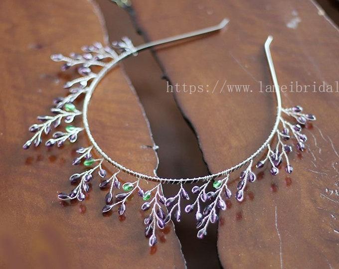 Lavender purple Forest Princess wedding crown  Floral Bridal Circlet  purple  crystal Wedding headband ,bridal Headpiece hair Accessory