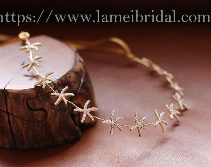 Gold Starfish and pearl Bridal Headpiece,Beach Wedding Hair vine,Gold Bridal Circlet,Gold Crown Perfect For A Boho Wedding Ready to ship