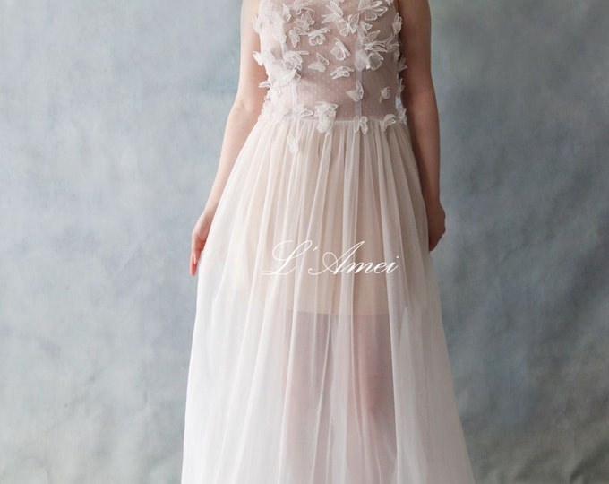 Clearance-Affordable Sheer Long White Lace Butterfly Polka Dot Tulle Wedding Dress with Mini Skirt liner. Also suitable for a Prom