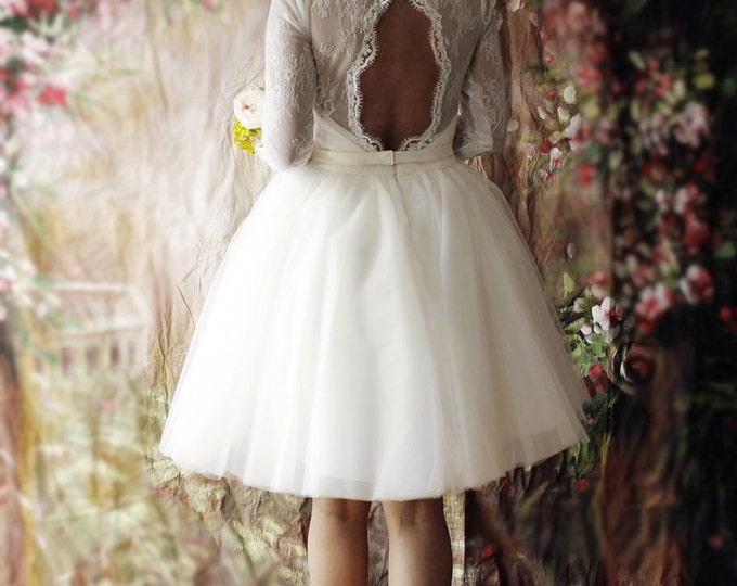 Short Lace Wedding Dress with Sleeves and Open back, Tea Length white lace Bridal dress