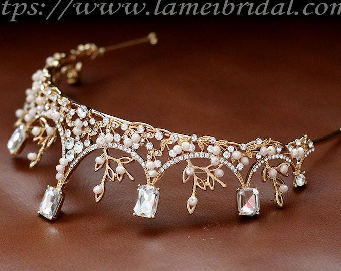 Gold Wedding Crown Woodland Queen Wedding Headpiece , Square crystal crown, Wedding Metal Wedding Hair Accessory, Gold Bridal Tiara