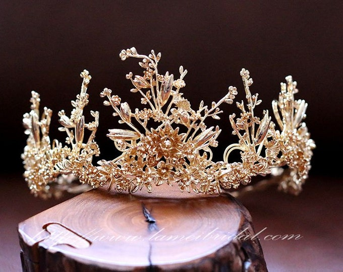 Woodland Princess Gold Wedding hair crown , Gold wedding Crown ,Gold bridal Tiara , Baroque crown,Gothic Tiara Evil Queen crown