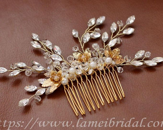 Pretty in golden hair Comb - Bridal Flower Hair Accessory - Bride Bridesmaid Flowergirl - small Flowers Comb