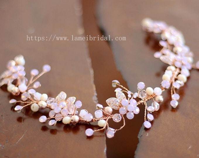 Hand made Pink Flower with Rhinestone ,Rose gold Bridalhair vine , gold and Blush wedding Headband , crystal and pink small flowers