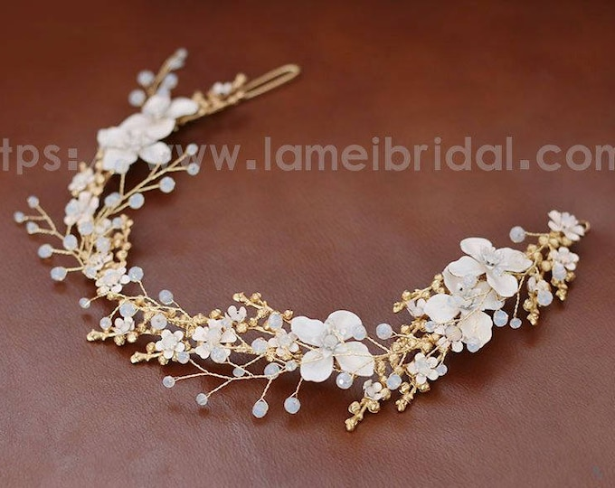 Forest Princess wedding Headband,Floral Bridal Circlet white Small Wild Flower Wedding Crown ,Gold wedding Headpiece,Bridal head Accessory