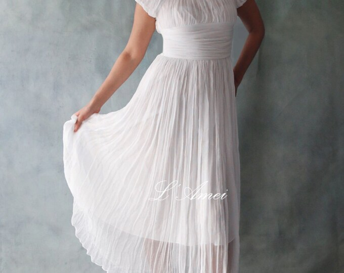Clearance-Simple Rouched Silk Tea Length Wedding Dress - AL4463021- Tea length square neckline silk wedding dress with cap sleeve