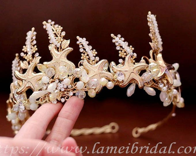 Golden wedding hair accessories, Gold Starfish bridal headpiece, Beach wedding starfish pearl crown -Starfish Hair Tiaras, Mermaid headdress
