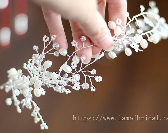 Silver white Bohemian flower Hair Vine Headband, Flower Crown Bridal floral headpiece, silver white flower hair vine, boho hair vine