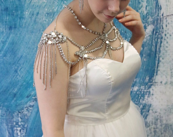 Clearance-Final sale- Handmade Luxurious Shawl for a Wedding Gown made with Rhinestone Crystals