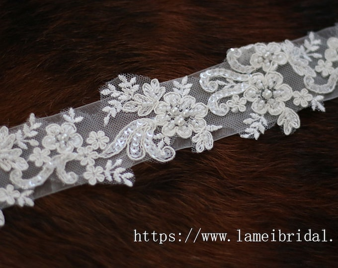 Hand Beaded Ivory White Lace on a Double Face Ribbon  Bridal Wedding Sash , Lace wedding sash belt