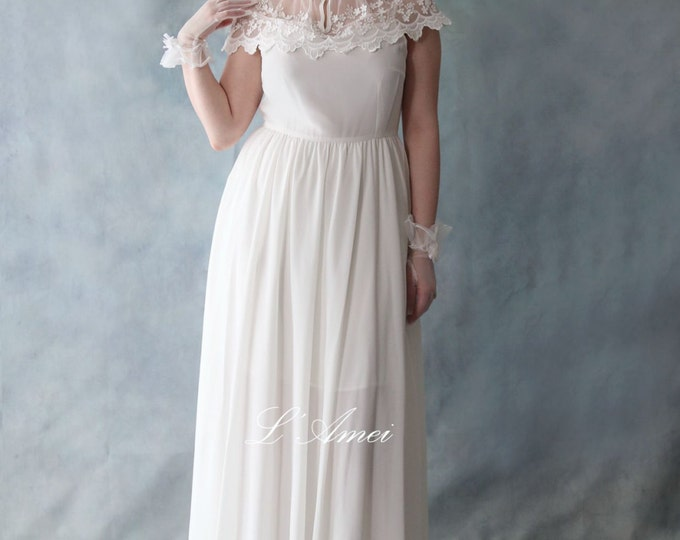 CLEARANCE - Lovely Handmade 2 Piece Vintage Style White Outdoor Wedding Dress with Small Lace Shawl  - Elizabeth 2016- AM19835021