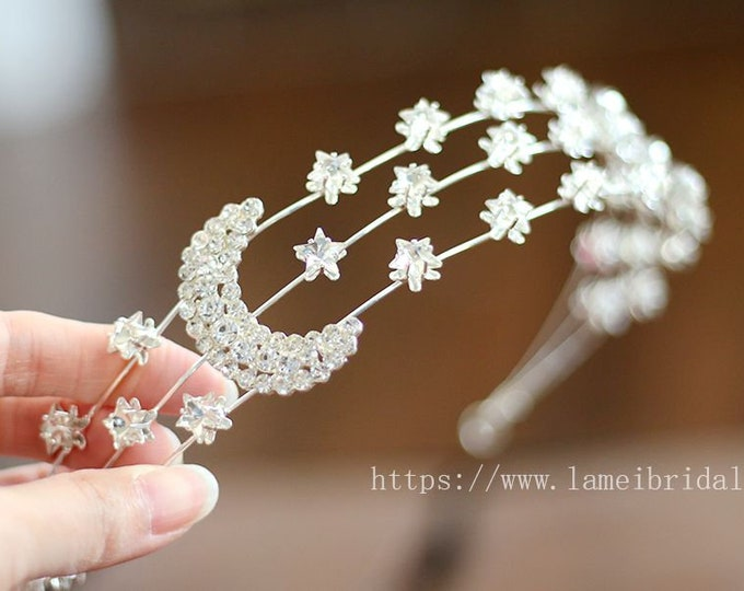 Silver star crown,Gold Bridal Headpiece Headband with Super Cute small stars ,Prom,birthday or holiday headband ,Gold star headband