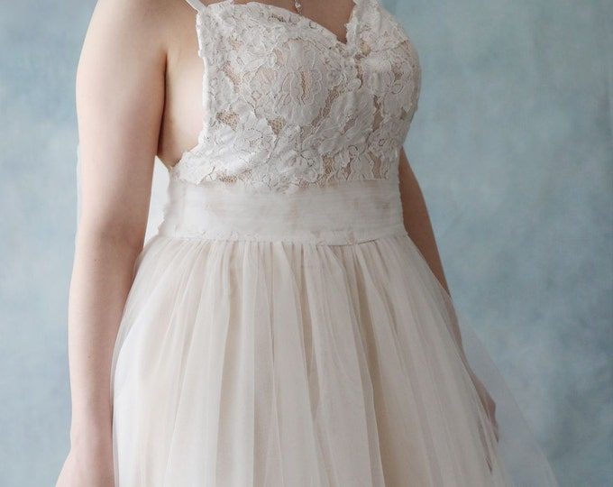 CLEARANCE- US 8 -Long Custom Made Sexy Backless Peach Lined Ivory Lace and Tulle Boho Beach Wedding Dress with Big Bow Sash