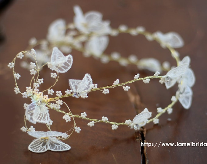 White lace Butterfly Head Crown Golden Wedding Hair Accessory with Faux Pearl Accents, Butterfly hair vine, wedding hair vine