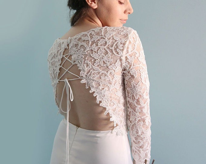 Romantic SEXY Backless Ivory white Long sleeves Floor length  Boho Lace Wedding Dress Great for  Beach Wedding- L'Amei Bridal