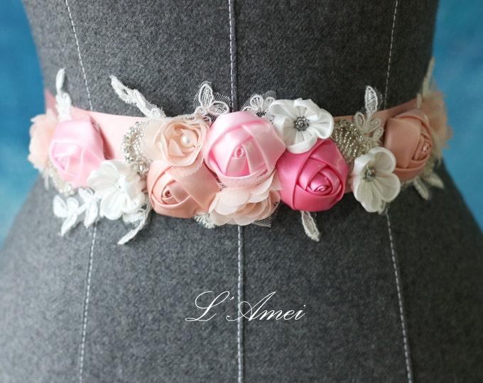Custom Made Blush and Ivory Bridal Belt Wedding Sash Accented with Bling, Pink flower wedding dress belt, Flower girl belt