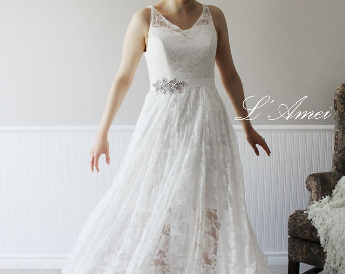 Custom Made Simple Ivory White Lace V Neck Tea Ankle Length Affordable Cheap Casual Boho Beach A Line Wedding Dress Bridal Gown by LAmei