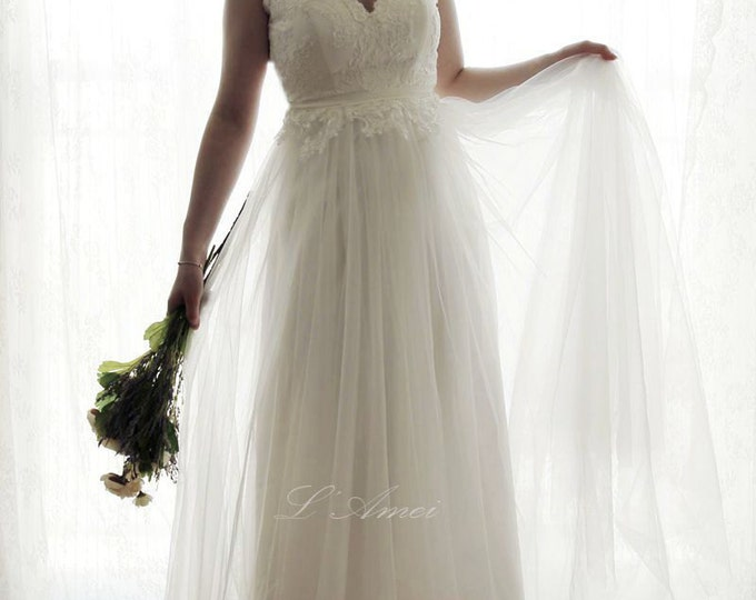 SALE-Romantic A-Line short sleeve Backless Boho Lace Wedding Dress Great for Outdoors or Beach Wedding - AM12364023 -Elizabeth 2016