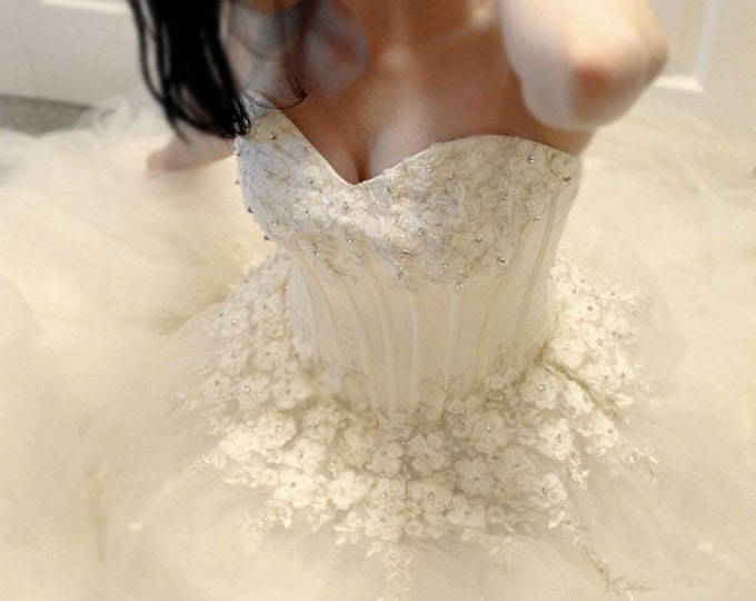 CLEARANCE - Long Corseted Princess Style Wedding Bridal Ball Gown Dress with Hand Sewn Ribbon Flowers and Sparkly