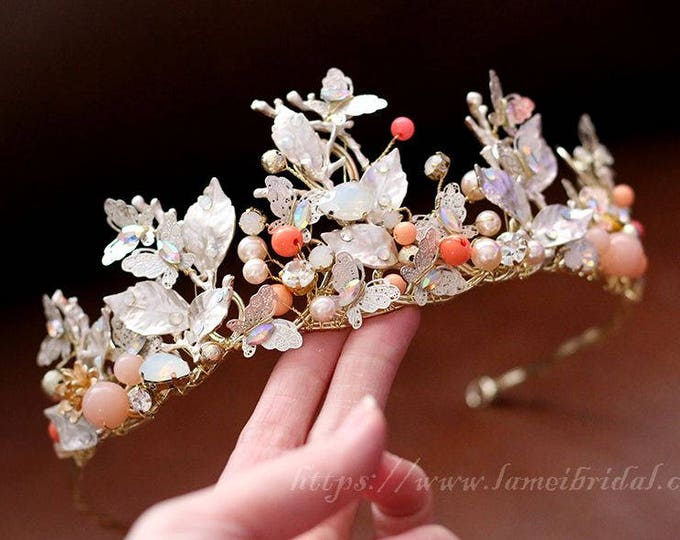 Woodland Queen Golden Wedding Bridal Tiara Headpiece with Light gold leaf ,Bridal leaf crown  Bridal headpiece  Greek goddess hair accessory
