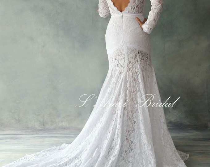 Custom Romantic Design Fitted Waist Floor length Soft Pure white or Ivory Lace Wedding Bridal Gown with  Long Sleeves and Deep V Back