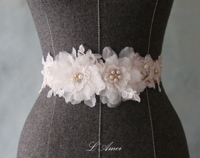 Custom Made Champagne and Ivory Flower Bridal Belt Wedding Sash Accented with Bling