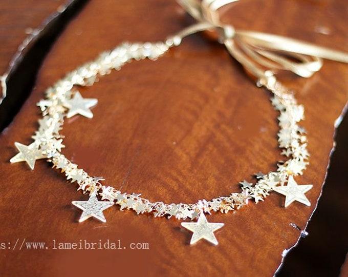 Champagne Star  Bridal Sash for Wedding, Golden Star wedding dress sash belt ,Thin wedding gown ,brisal dress Sash Belt