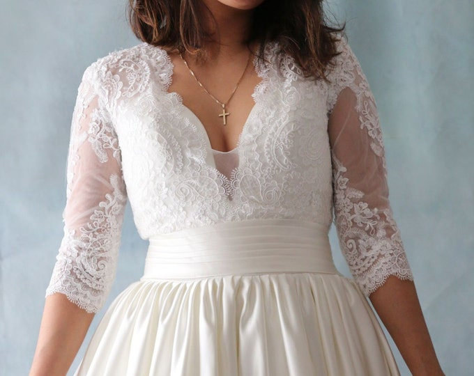 Custom Made French Lace Classical Blush Wedding Gown with V Neckline and Three-quarters sleeves