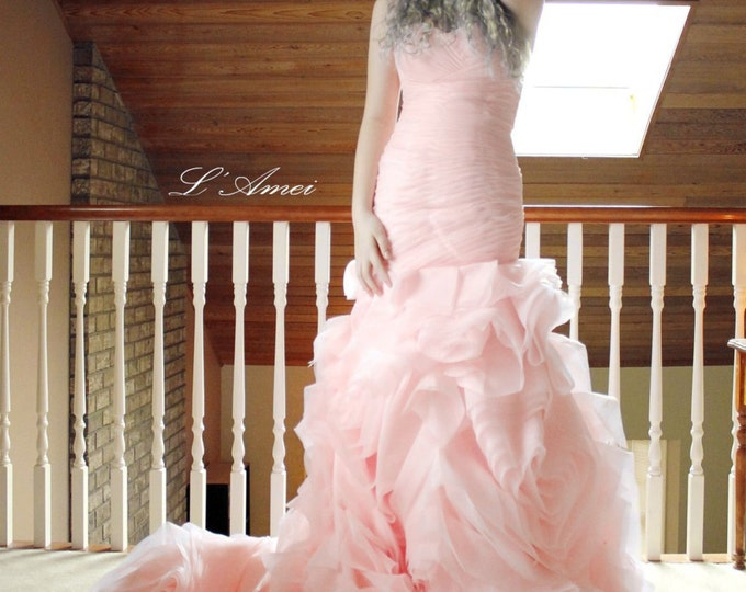 CLEARANCE - Custom made Rose Pattern Organza Sweetheart  Ball Bridal Gown with Corset Back. Pink / Blush Wedding Dress,Mermaid bride Gown