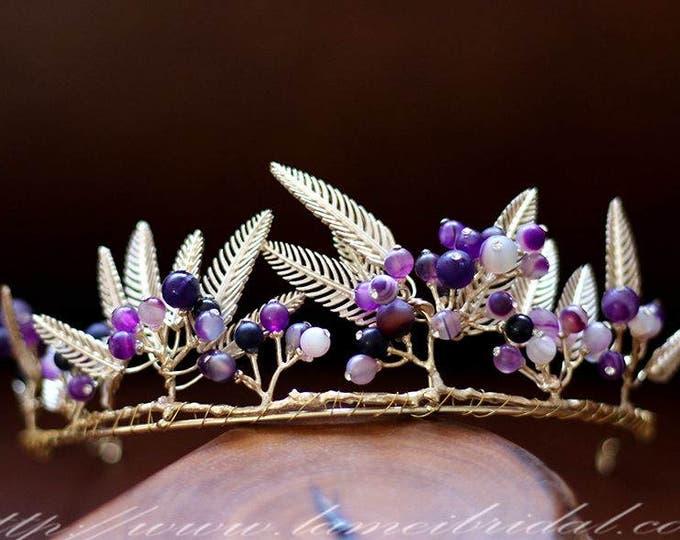Bridal boho purple and gold  crown, floral bridal headdress, wedding flower vine, bridal flower crown, boho bridal headband, purple wedding