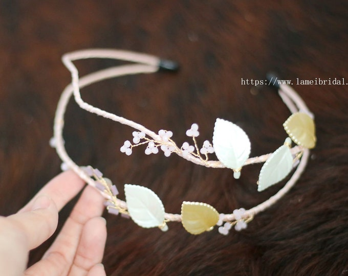 Hand made Pink Flower leaf  with Rhinestone beads Bridal Wedding hair vine , hair Wreath, Blush Headband , crystal and pink small flowers