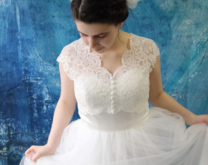 Amazing Romantic Full Front Cap Sleeve French Lace Wedding Bolero Top Jacket