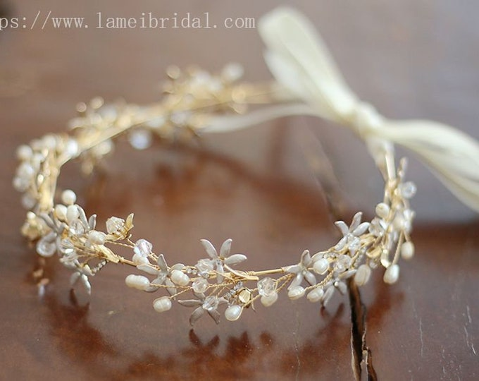 Bridal  flower crown, floral bridal headdress, Golden wedding flower vine, Swarovski Pearl Hairband,Gold Boho bridal headband