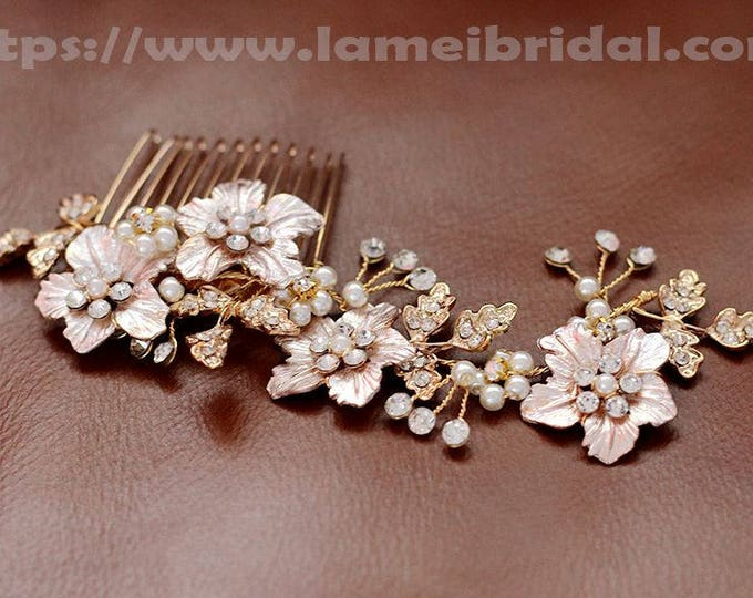 Victorian Inspired Gold Wedding Bridal Flower Hair Clip Accented with Pearl and crystal ,Gold Leather Flower Bridal Hair comb Accessories