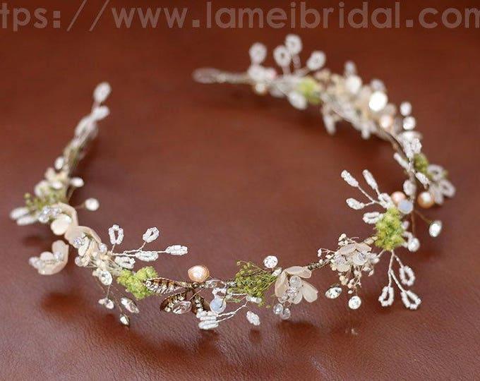 Forest Princess Small white Flower wedding Headband,Floral Bridal Circlet Wild Flower Wedding hair vine ,flower Headpiece with green leaf