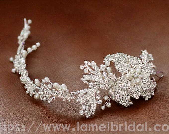 Silver white Bohemian flower Hair Vine Headband, Flower Crown Bridal floral headpiece, silver white flower hair vine, boho hair vine