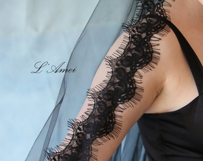 Fingertip Length Black Soft Lace Cathedral Mantilla Bridal Wedding Veil