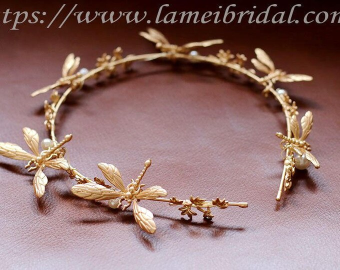 Golden  Wedding Crown Circlet with Golden Flowers and  dragonfly, Small Flowers and Little  dragonfly hair vine, Gold dragonfly headband