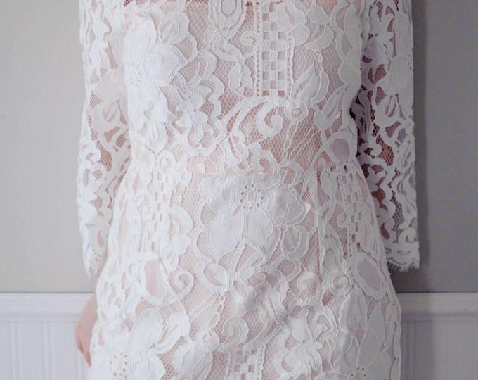 CLEARANCE - Knee length Lace Wedding Dress Short Wedding Dress with Sleeves-Blush wedding dresses  AM198239580