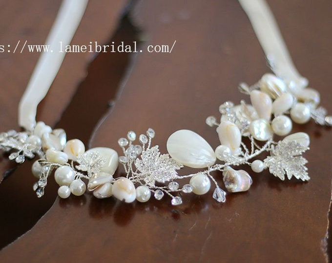Oceanside Seashell  Hairpiece Bridal Accessory Wedding Hairpiece with Crystals,Shell hair vine,Beach wedding headband,silver seashell crown