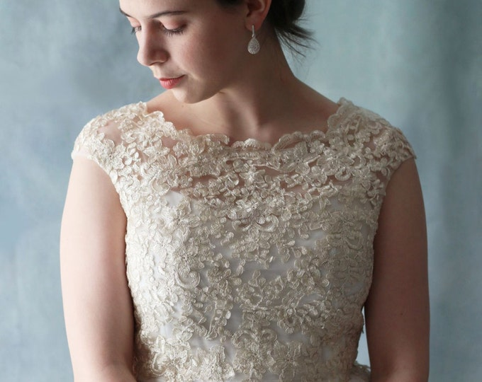 Custom Golden French Lace Floor Length Wedding or Prom Dress, 2 pieces Romantic Wedding Gown - 7790027 Golden lace bridal dress
