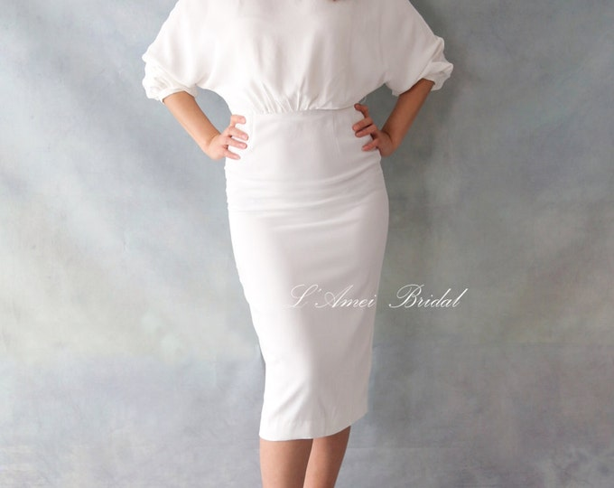 Short Knee Length Fitted Little White Pencil Dress, Mini Party Dress that is Made to Order - Emma-designed by LAmei
