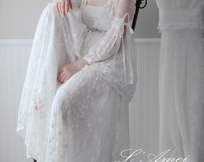 CLEARANCE - Embroidered Lace Gypsy Bohemian Style A-Line Long Wedding Dress- Beach lace wedding dress- LAmei 1224250