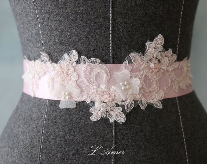 Soft Blush Pink Organza Flower Wedding Sash Bridal Belt Accented with Hand Beaded Bling and Faux Pearls