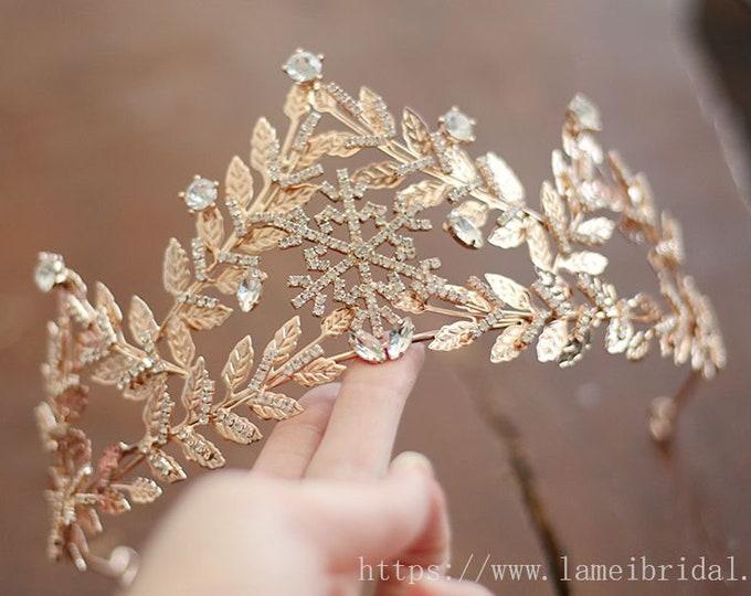 Snow Princess Leaf Wedding Tiara, Snow Queen Rose gold leaf bridal Crown, Golden Snowflake wedding hair crown