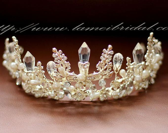 Light Gold Wedding hair crown , Crystal wedding Crown , Gold bridal Tiara , Wedding crown, Gothic Tiara, Greek goddess hair accessory