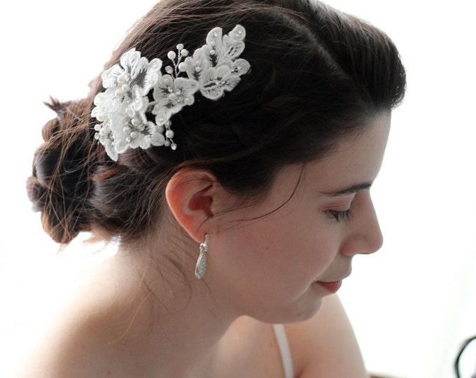 Ivory White Lace Flower Bridal Wedding Hair Clip adorned with Crystal Rhinestones and  Pearls