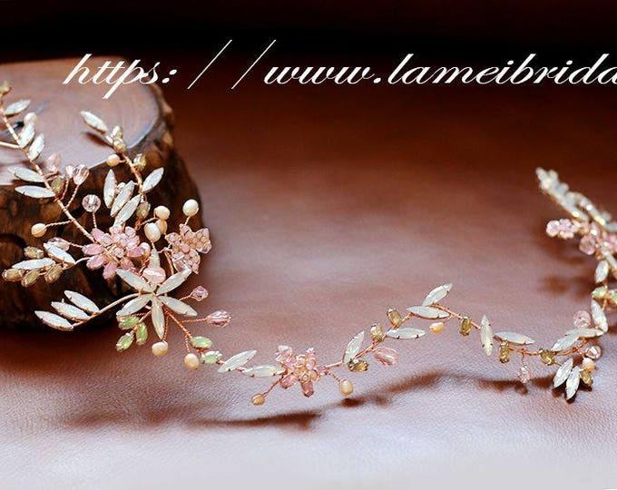 SALE-Gold Blush Whimsical Flower Crown ,Princess Wedding Headband , Bridal hair vine ,fairy Tiara  Prom Circlet Headpiece,Boho flower vine